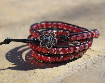 Triple Wrap Red Beaded Bracelet with Pewter Button