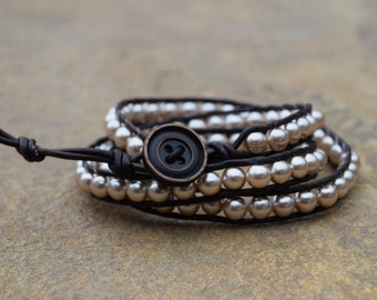 Brown Pearl Triple Wrap Bracelet