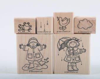 Rainy Days Stamp Set, Vintage, Stampin up, Boy in Puddle, Girl, Umbrella, Raindrops Cloud Frog, Bird, Card making ~ 170320