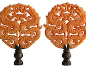 Double Dragon Asian Carved Stone Lamp Finials - Butterscotch Yellow on Bronze Tone Bases - A Matching Pair