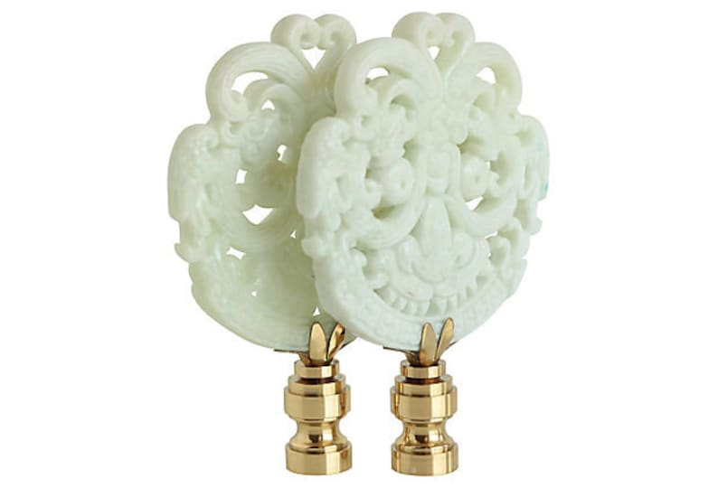 Cream Smiling Dragons on Shiny Brass Bases A Matching Pair Asian Lamp Finials
