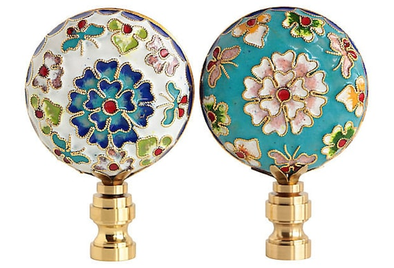 Chinese Champlev\u00e9 Cloisonn\u00e9 Lamp Finials on Shiny Brass Bases A Matching Pair in Blue /& White