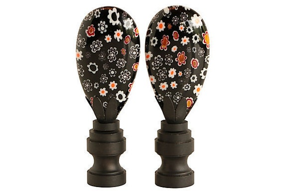 Millefiori Glass Lamp Finials On Blackened Brass Bases A Etsy