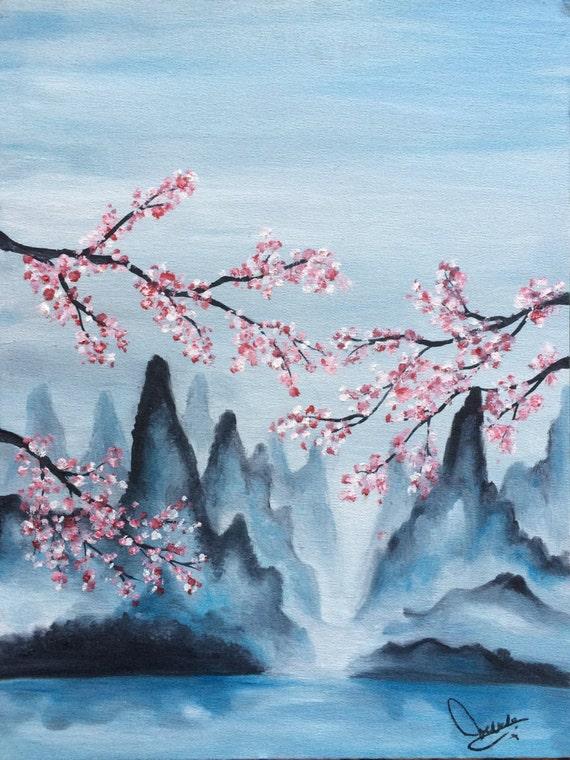 Japanese Landscape Asian Cherry Blossoms Asian Landscape Etsy