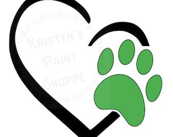 Love My Pet Paw Print Decal