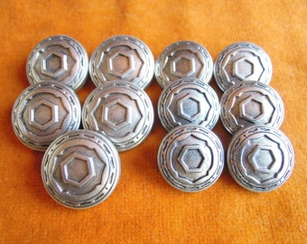 "SOUTHWEST Silver BUTTON 3//4/"" Metal  Patterned coat Wire Rim shank Lot   10 Pc"