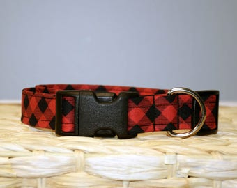 Christmas Dog Collar – Buffalo Plaid Dog Collar – Plaid Dog Collar - Red and Black Plaid Dog Collar - Handmade Fabric Dog Collar