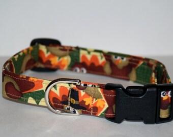 Thanksgiving Dog Collar – Turkey Dog Collar –  Fall Print Dog Collar - Harvest Dog Collar - Handmade Fabric Dog Collar