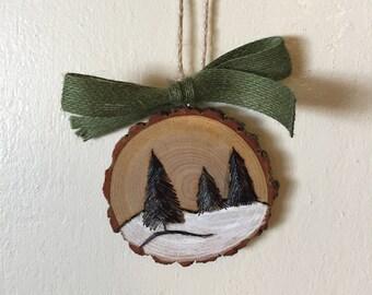 Wood Slice Ornament, Winter Scene Ornament, Wood Burning, Hand Painted Ornament