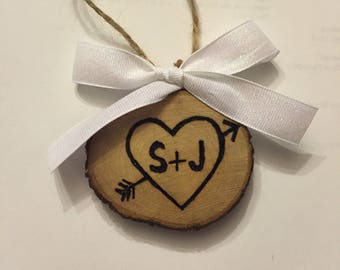 Wood Slice Ornament, Personalized Ornament, Couples Ornament, Wood Burned Ornament, Gift Tag, Valentines Tag, Valentines Gift