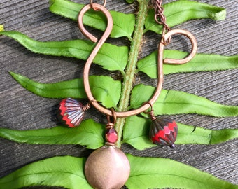 Copper Hammered U Necklace with Red Beads