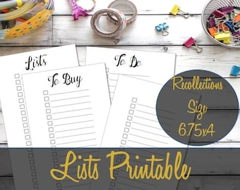 Lists Recollections Planner Insert, Shopping List, To Do List, Recollections Inserts, Creative Year Inserts, To Read List - INSTANT Download