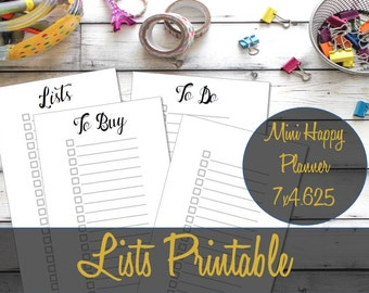 Mini Happy Planner Printable Inserts, List Inserts, Shopping List, To Do List, Recollections Inserts, Mambi Inserts, Create 365 Inserts