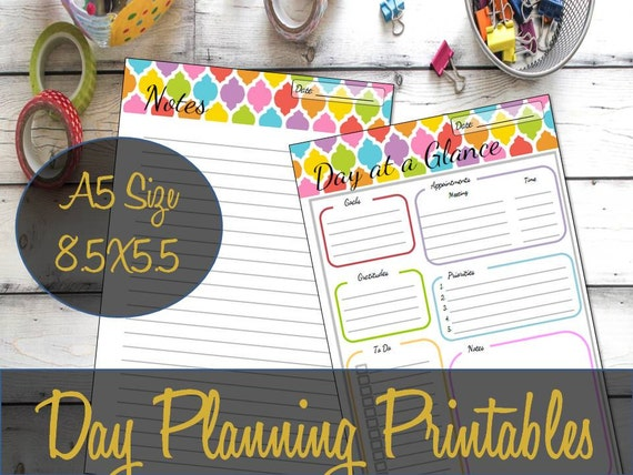 day planning blank calendar a5 insert refill day at a glance etsy