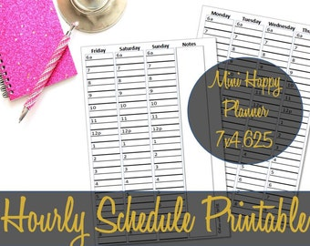 Mini Happy Planner Hourly Insert, Hourly Schedule, Recollections Insert, MAMBI, Happy Planner Inserts, Hourly Insert -INSTANT DOWNLOAD