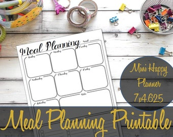 Mini Happy Planner Insert, Meal Planning, printable insert, Recollections, Shopping List, Create 365, MAMBI Insert, Meal Planner