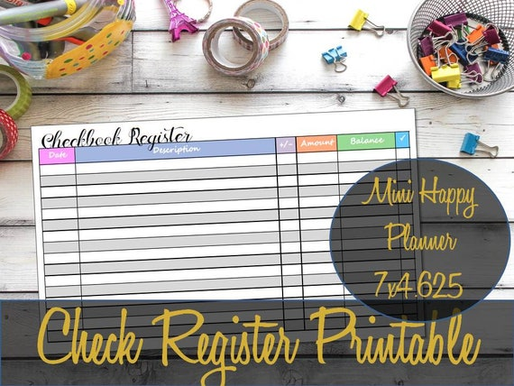 checkbook register mini happy planner printable insert etsy