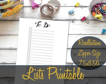 To Do List Recollections Zippered Planner Insert, List Inserts, Creative Year, Recollections Inserts, Michael's Refill - INSTANT Download