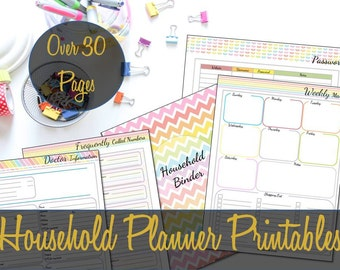 Household Binder Inserts, Mom Organizer, Franklin Monarch Inserts, Arc, Big Happy Planner Inserts, Printable Inserts, Family Organizer