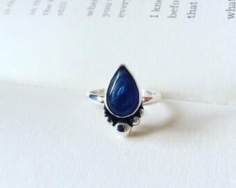 Ocean Deep - Kyanite Teardrop Sterling Silver Ring