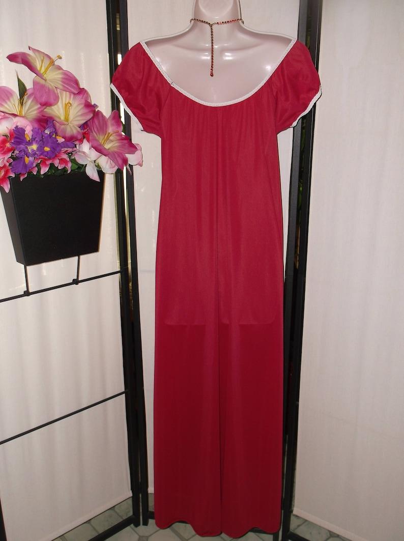 SmallMedium; lace trim; simple style; on or off shoulder; bridal gift peasant sleeves Vintage 1960s Deena nightgown dark red crimson