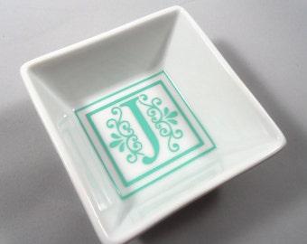 Monogram Ring Dish. Initial Jewelry Holder. Ring Holder. Monogram Jewelry Dish.