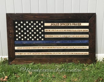 Wood Police Flag, Thin Blue Line Flag, Police Officer Prayer Flag, Thin Red Line Flag, Rustic American Flag, Framed Police Flag
