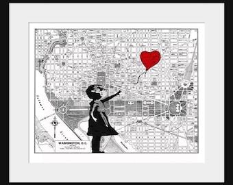 Washington D.C.  Map - Banksy Print - There's Always Hope - Banksy Graffiti