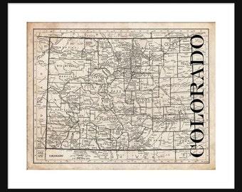 Colorado Map - Map of Colorado - Poster - Print - Sepia