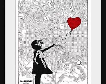 Baltimore Map - Banksy Print - There's Always Hope - Banksy Graffiti