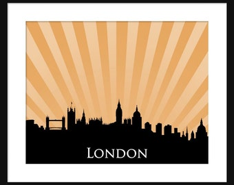 London Skyline Print - London - England - Sunburst Print - Poster - Print