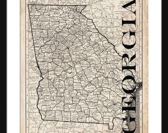 Georgia Map - Map of Georgia - Poster - Print - Sepia