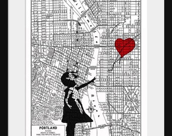 Portland Map - Banksy Print - There's Always Hope - Banksy Graffiti