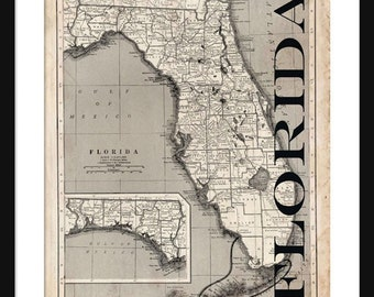 Florida Map - Map of Florida - Poster - Print- Sepia