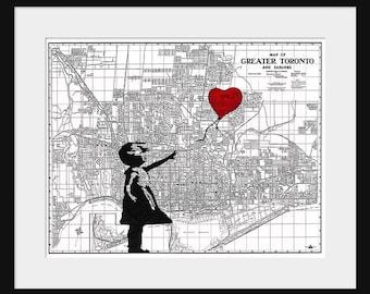 Toronto Map - Banksy Print - There's Always Hope - Banksy Graffiti