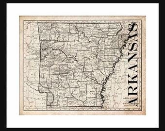 Arkansas Map - Map of Arkansas - Poster - Print - Sepia