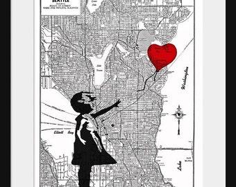 Seattle Map - Banksy Print - There's Always Hope - Banksy Graffiti
