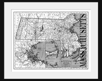 Massachusetts Map - Map of Massachusetts - Poster - Print