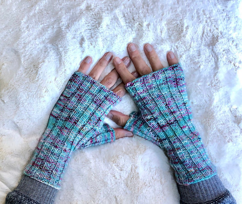 Ribbed Fingerless Mitts knit pattern DIGITAL DOWNLOAD ONLY