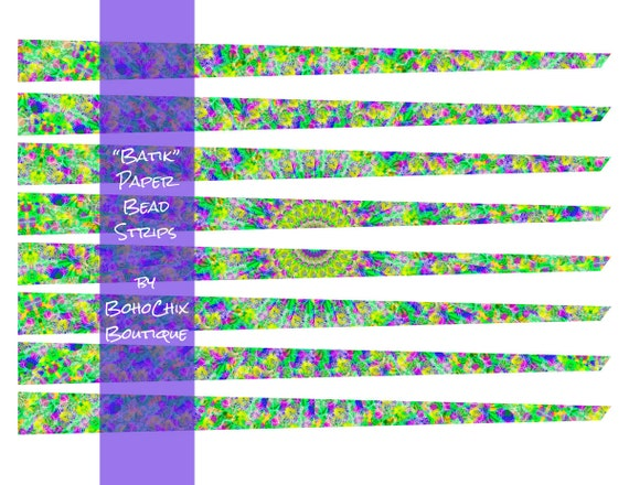 photograph about Printable Paper Bead Templates named Batik - Printable Paper Bead Sheet Strips - 3/4\