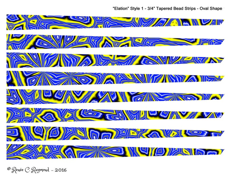 picture about Printable Paper Bead Templates known as Elation - Printable Paper Bead Sheet Strips - 3/4\
