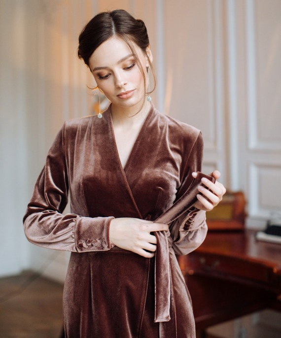 velvet chocolate dress Taupe party wrap Deep chic outfit casual prom LikeAnActress coconut velvet women cocoa brown adult skirt bridal v45wqIZqx