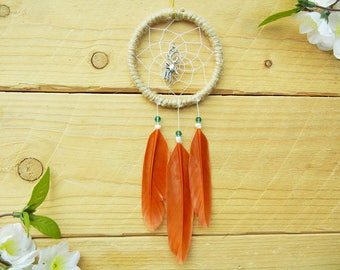Neutral Dream Catcher with Deer Charm: Deer Rear View Mirror Hanger for Men, Hunting Gifts for Men, Truck Accessory, Gift for Him, Hunter