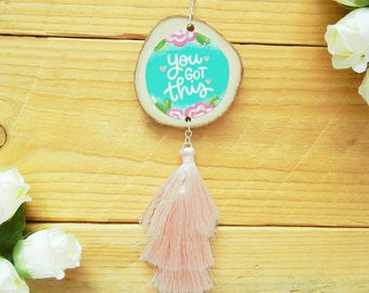 You Got This Floral Car Accessories, Rearview Mirror Charm, Interior Car Decorations, Teens, Women, Girls, Gift