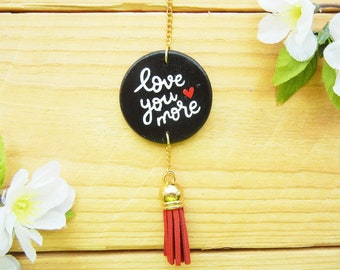 Love You More, Anniversary Gifts for Wife, Girlfriend, Husband, Boyfriend, Car Mirror Accessory, Keychain, Hanging, Charm