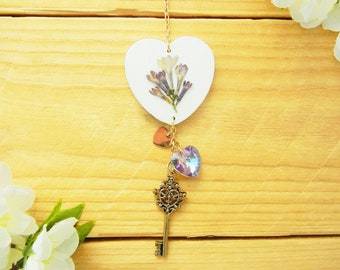 Heart Car Charm, Car Accessories for Women, Pressed Flower Art, Lilac Gifts, Rear View Mirror Hanger, Decor, Decoration