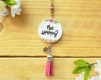 Be Happy Flower Rearview Mirror Charm, Car Accessories for Women, Feel Good Gifts, Positive Quote, Vehicle Interior Decor