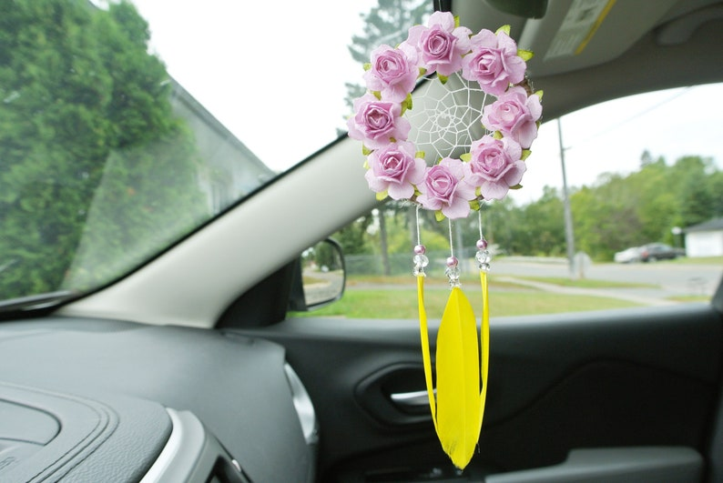 Rearview Mirror Accessory, Dream Catcher for Car, Yellow Car Accessories,  Flower, Boho Car Decor, Gift for Girlfriend, Best Friend