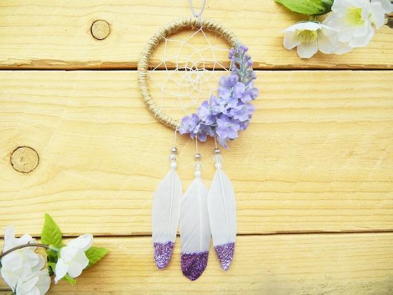 Purple Dream Catcher, Purple Car Accessories, Flower Dreamcatcher, Lilac  Flower Gift, Gifts for Women, Rear View Mirror