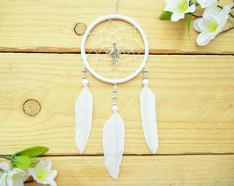 White Cross Dreamcatcher: Simple Dreamcatcher, Religious Car Charm, Cross Rear View Mirror Charm, Religious Gift for Women, Car Decoration